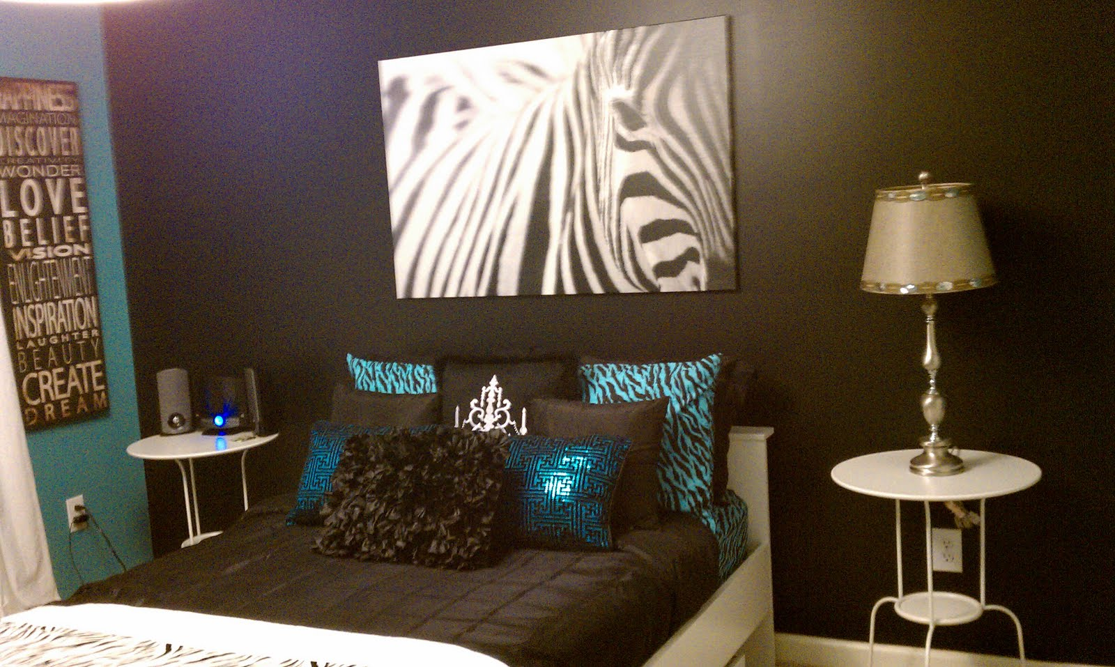 Zebra Print Turquoise and Brown Bedroom Idea