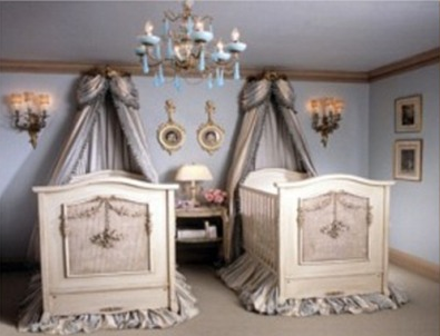 Twin Beds with Canopy Headboard
