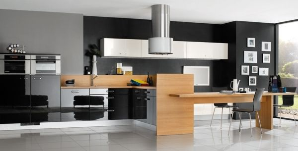 Black and Wooden Contemporary Kitchen