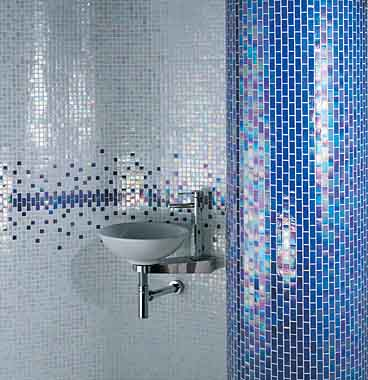 Image of: Blue Glass Mosaic Tiles