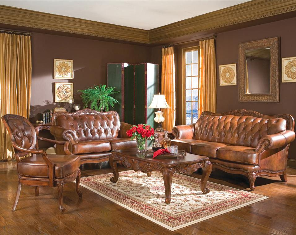 Image of: Brown Leather Furniture Decor in Living Room
