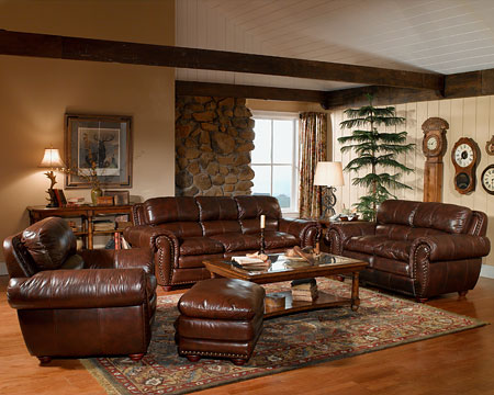 Image of: Brown Leather Furniture in Living Room
