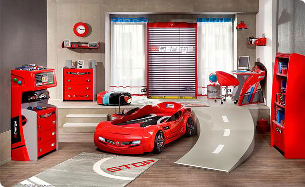 Image of: Car Racing Bedroom Furniture for