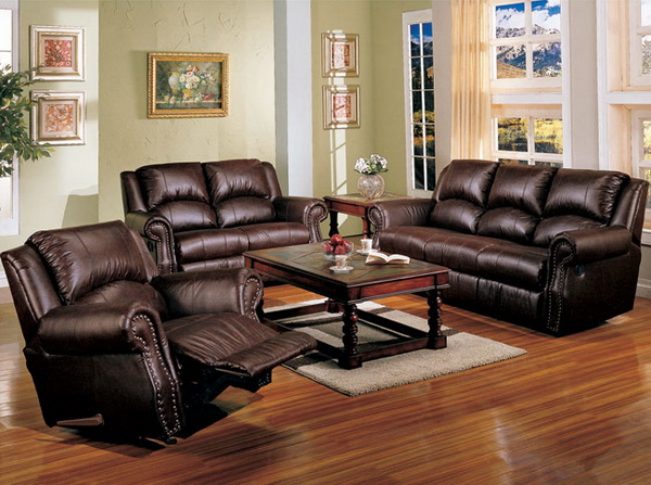 Image of: Contemporary Living Room Ideas with Leather Couch Set