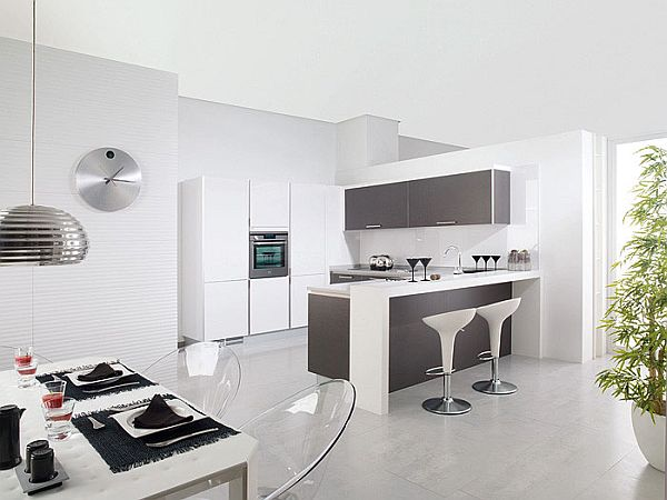 Image of: Contemporary White Grey Kitchen