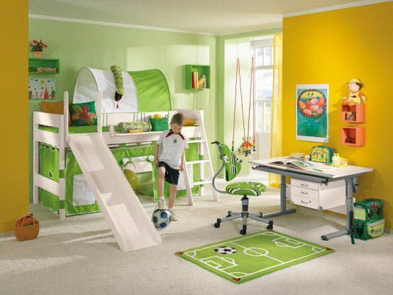 Cool Kids Room Design in Green and Yellow
