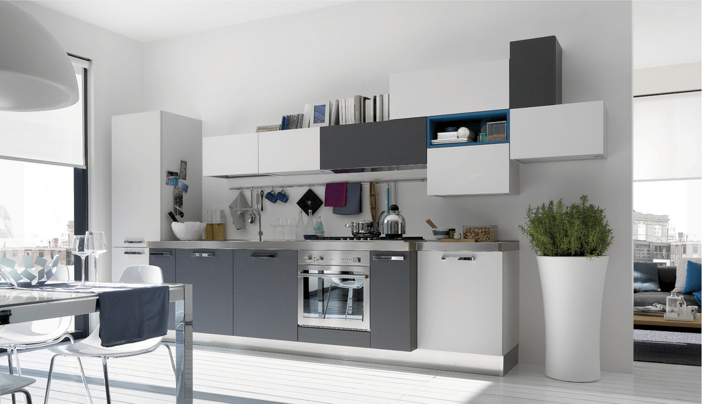 Image of: Creating White and Grey Kitchen