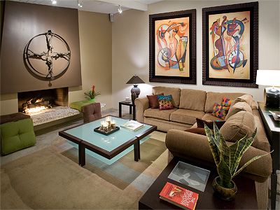 Image of: Light Brown Living Room Design