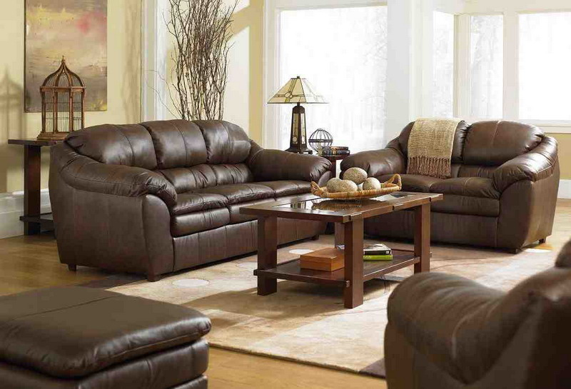 Image of: Living Room Design Ideas with Brown Leather Furniture