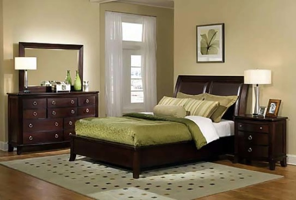 Image of: Mixing Brown and Green Bedroom Scheme
