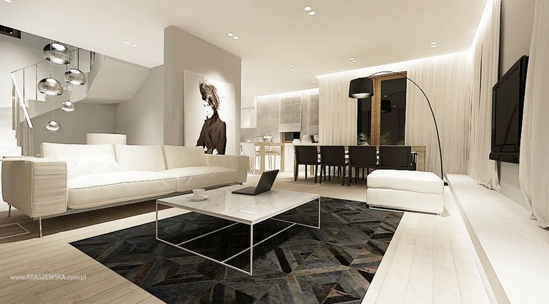 Image of: Modern Monochrome Living Room Decor