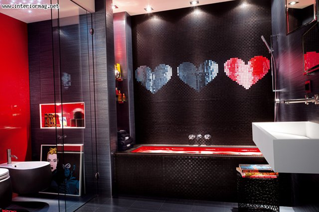 Image of: Mosaic Bathroom with Black Love Design