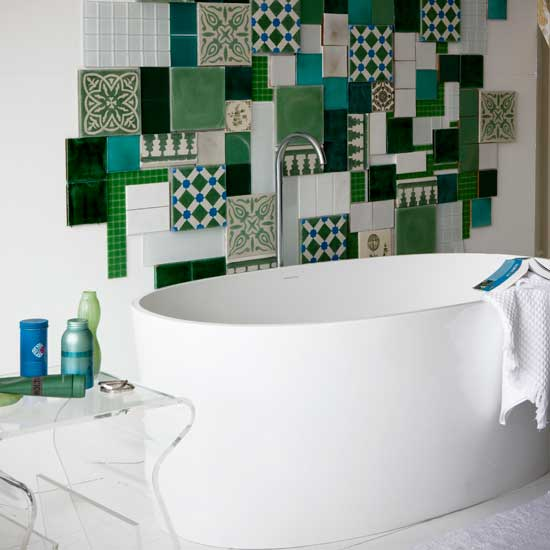 Image of: Mosaic Wall Bathroom Design