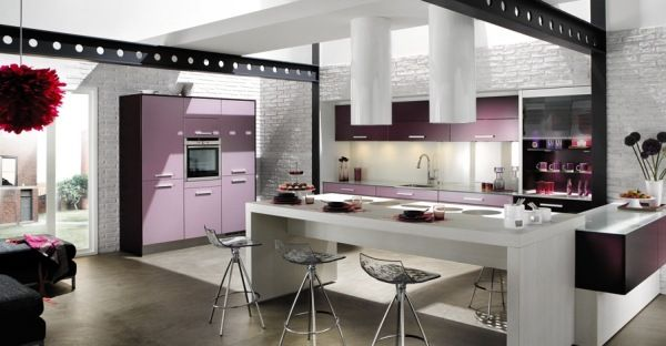 Purple Contemporary Kitchen Idea
