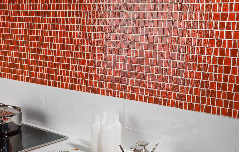 Image of: Red Glass Mosaic Tile