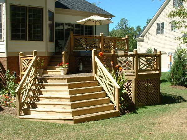 Small Two Level Patio Wood Deck