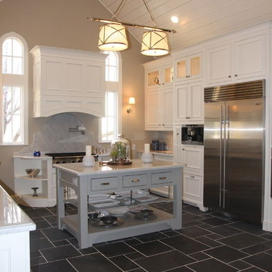 Image of: Traditional Kitchen with Grey Floor Kitchen