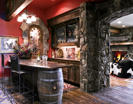 Image of: Awesome home bar design with brick wall