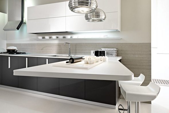 Image of: MAGIKA Contemporary White and Grey Kitchen by Pedini