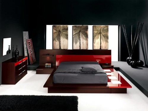 Image of: asian bedroom in red and black touches