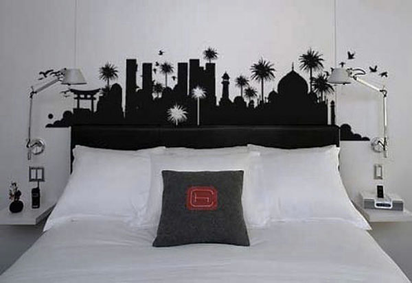 Image of: black and white wall headboard design