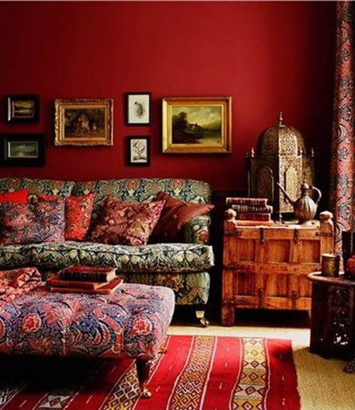 Image of: bohemian in red walls