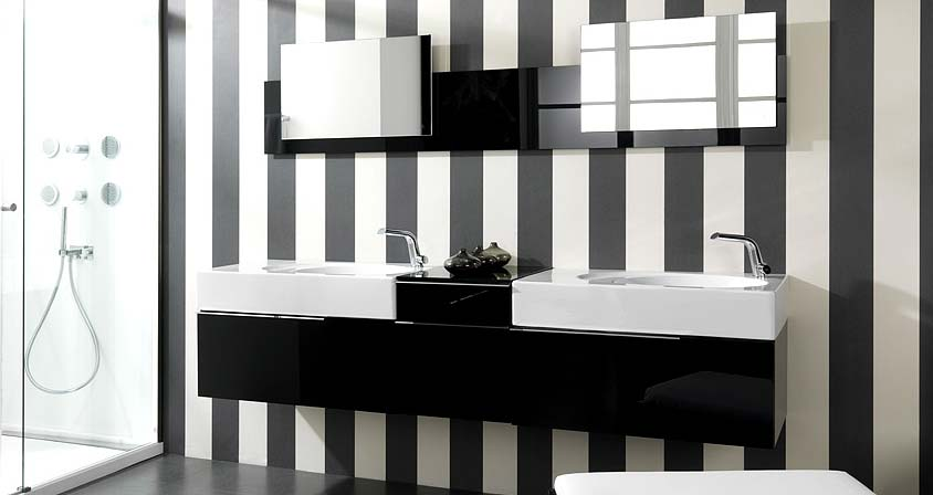 Image of: modern black and white stripped wall design