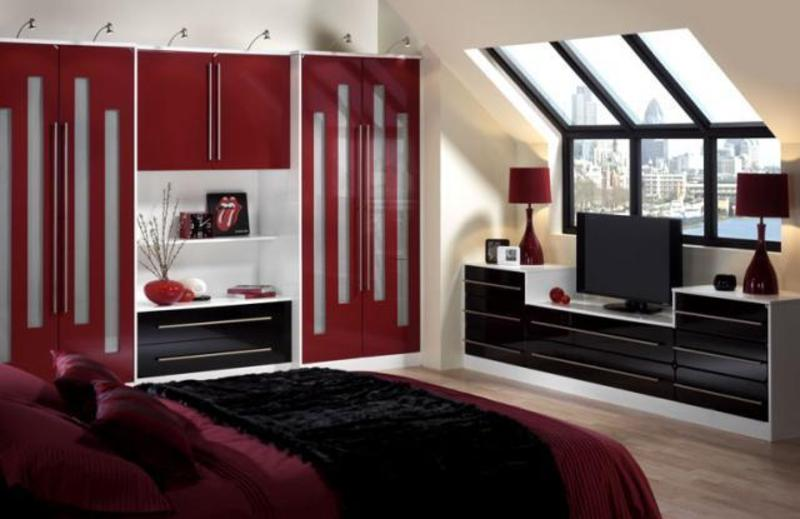 Image of: red and black bedroom, bedroom, colourful design