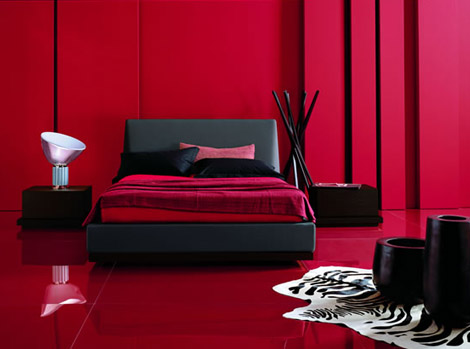 Image of: red and black in modern bedroom design