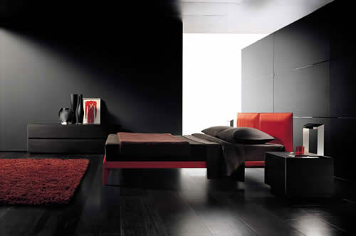 red and black minimalist bedroom