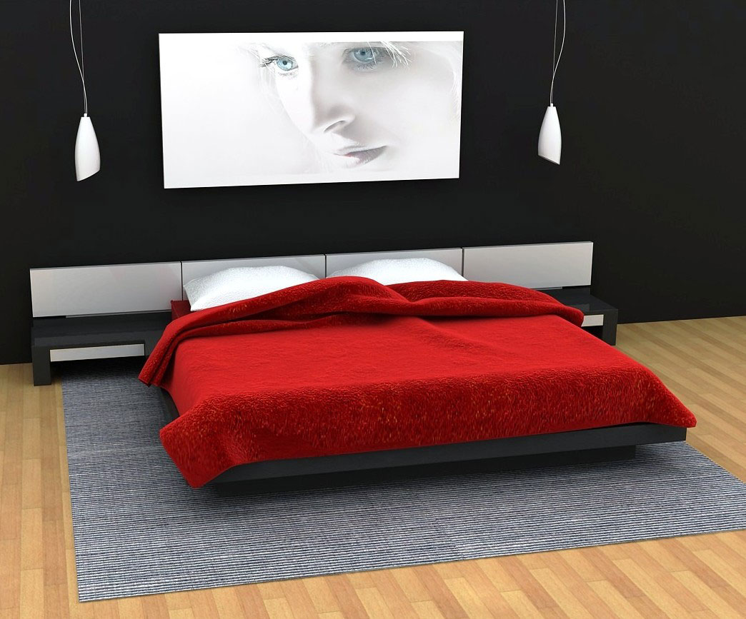 simple red and black bedroom design