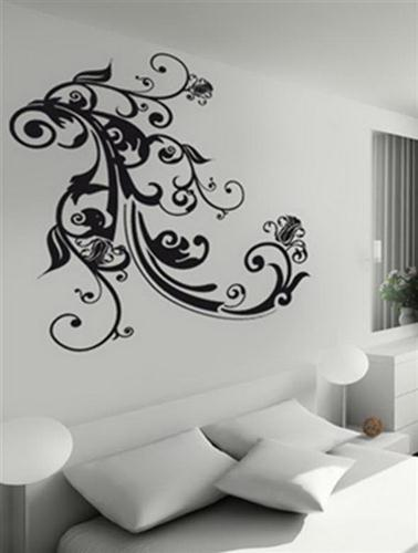 white living room with black art