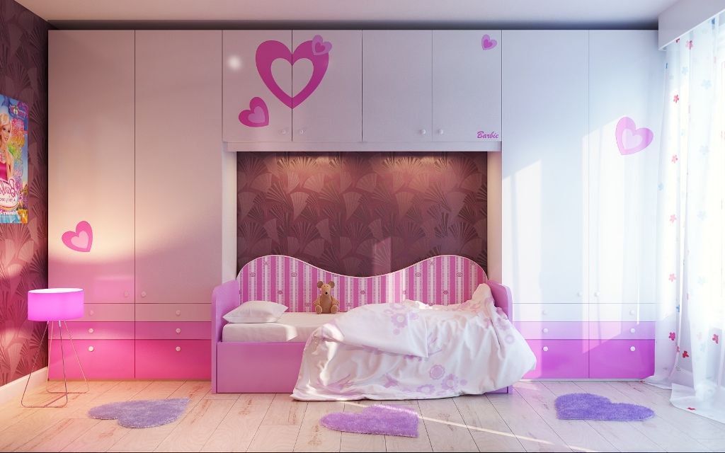 Image of: Aqua And Pink Girls Room