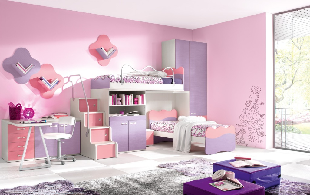 Image of: Gray And Pink Girls Room