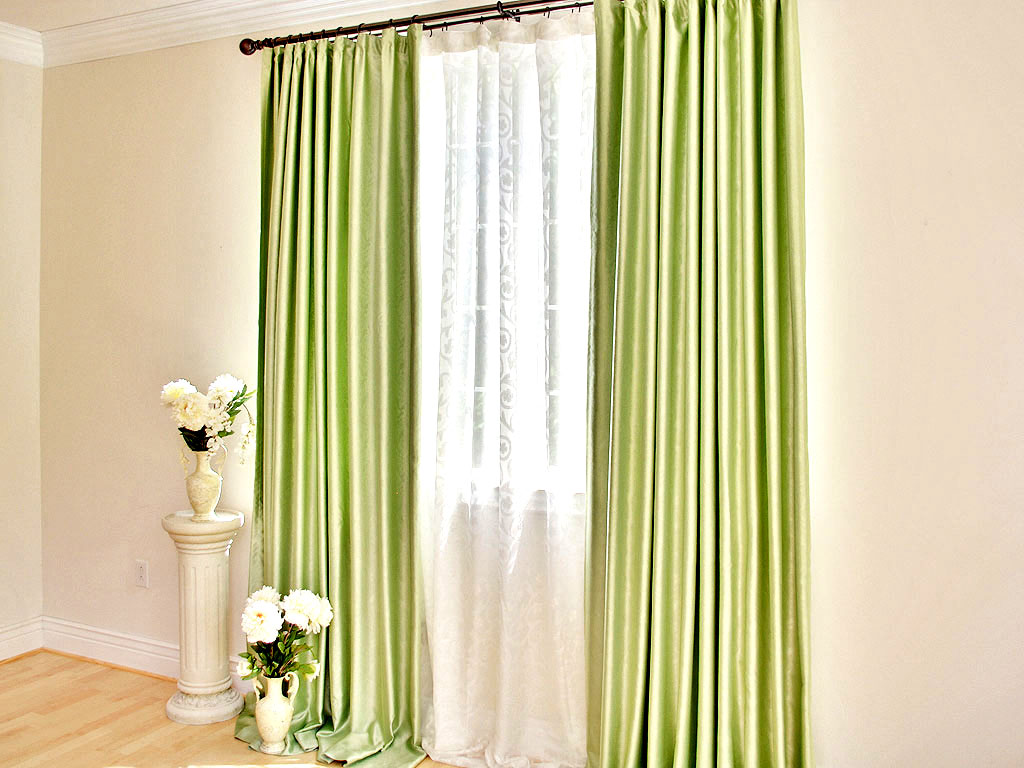 Image of: Green And White Curtains With Flowers