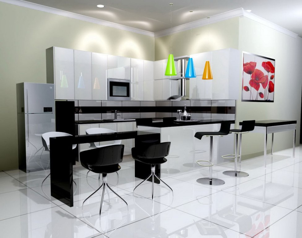 Image of: Kitchen Decor Using Black And White Wallpaper