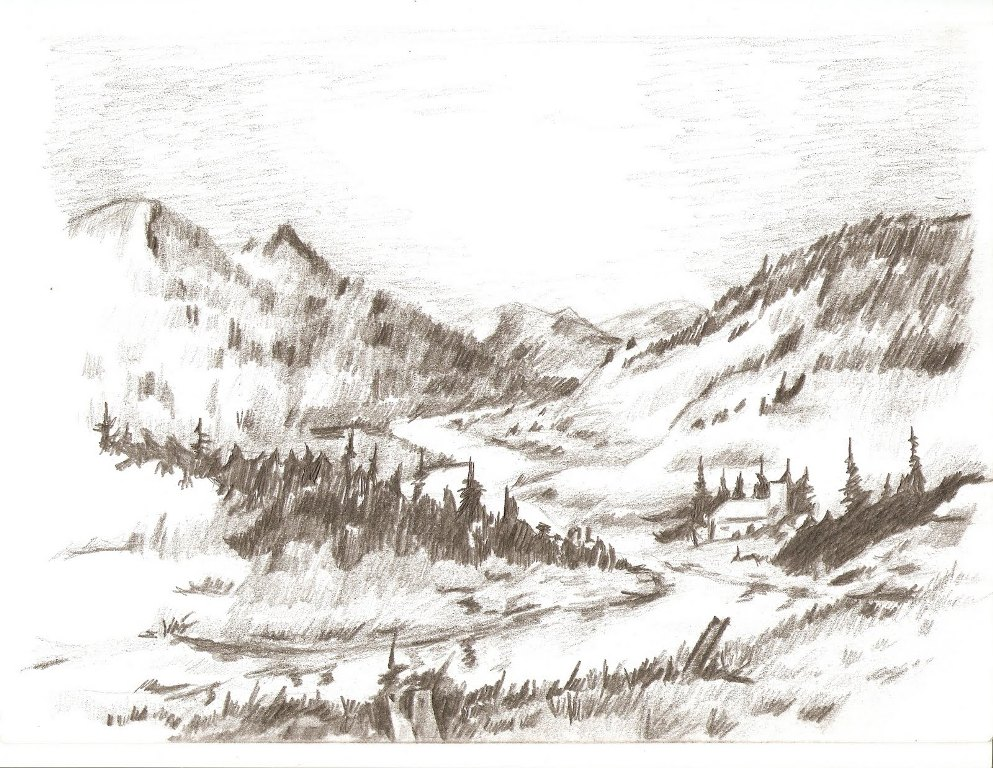 Image of: Landscape Drawing Images