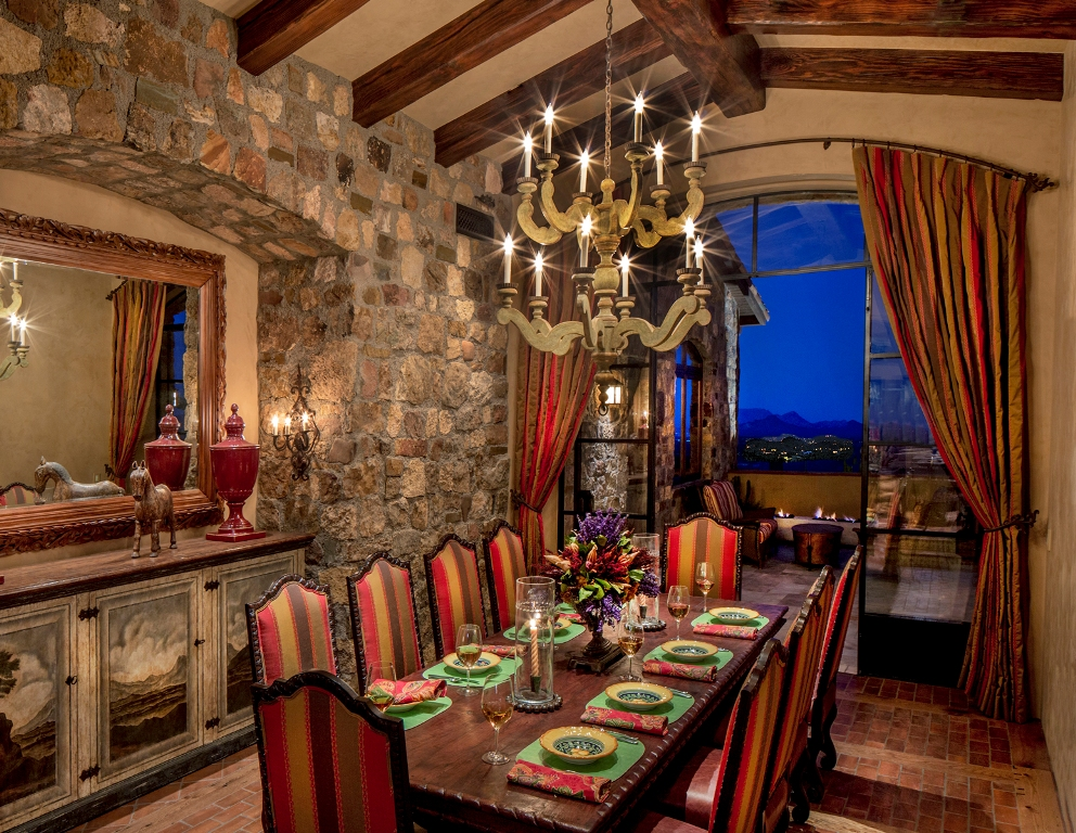 Image of: Dining Room Designs Stone Wall
