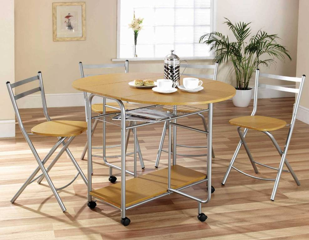 Image of: Folding Dining Set With Self Storing Chairs