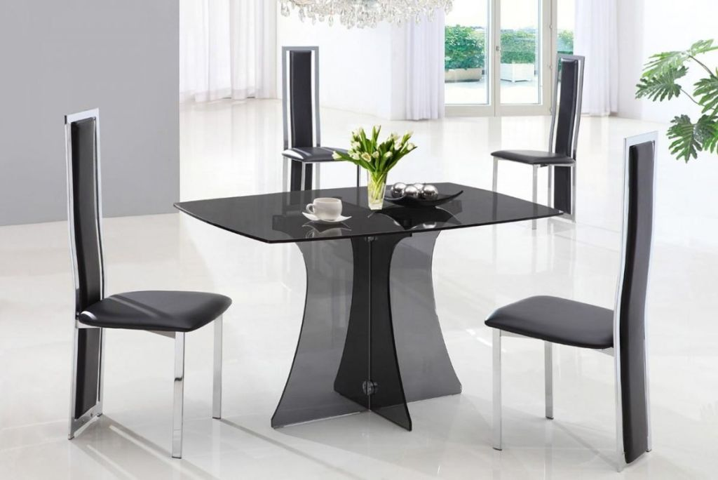 Image of: Compact Dining Table With Glass Top