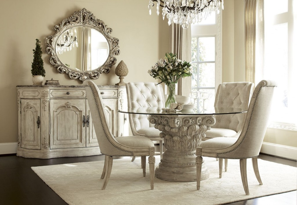 Image of: White Dining Table With Bench