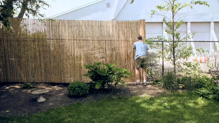 Image of: Bamboo Fence Install