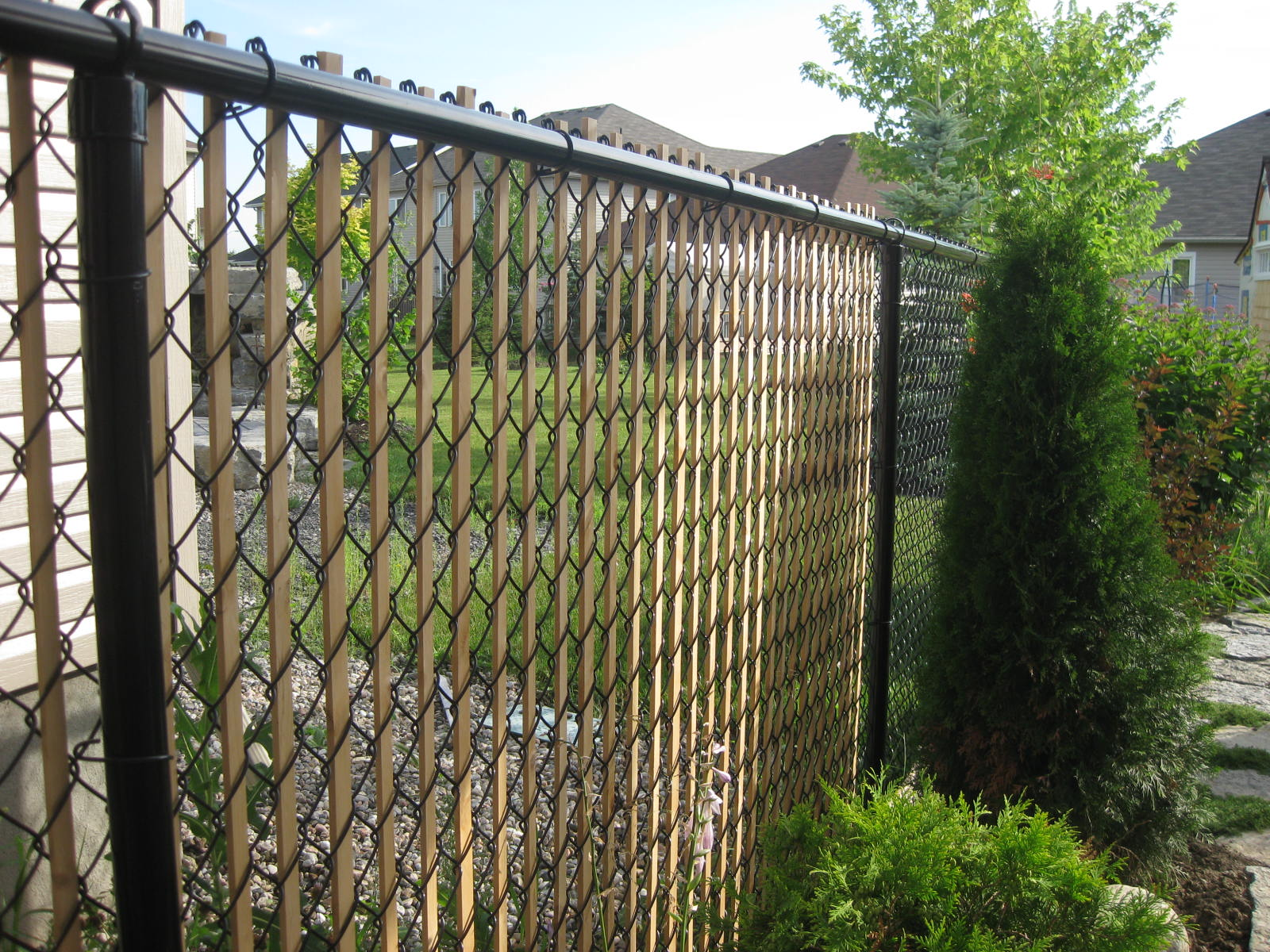 Contemporary Chain Link Fence Privacy Slats