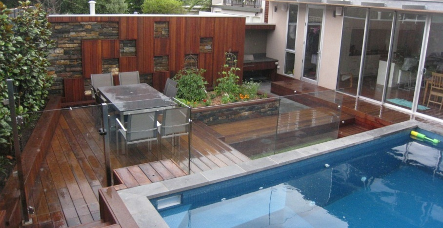 Image of: Deck Pool Fence