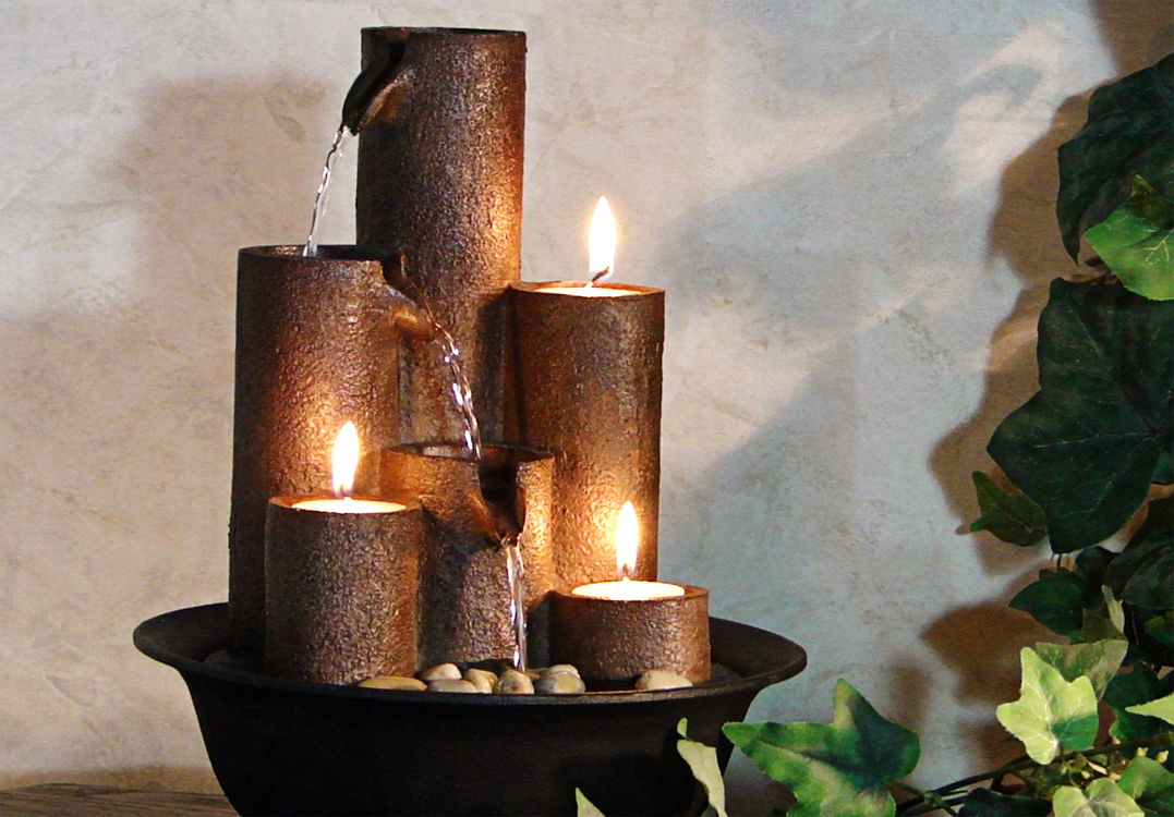 Image of: Alpine Water Fountain with Candle