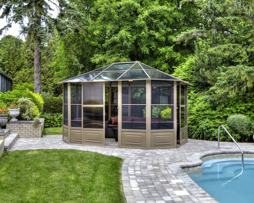 Image of: Aluminum Roof Gazebo Outdoor