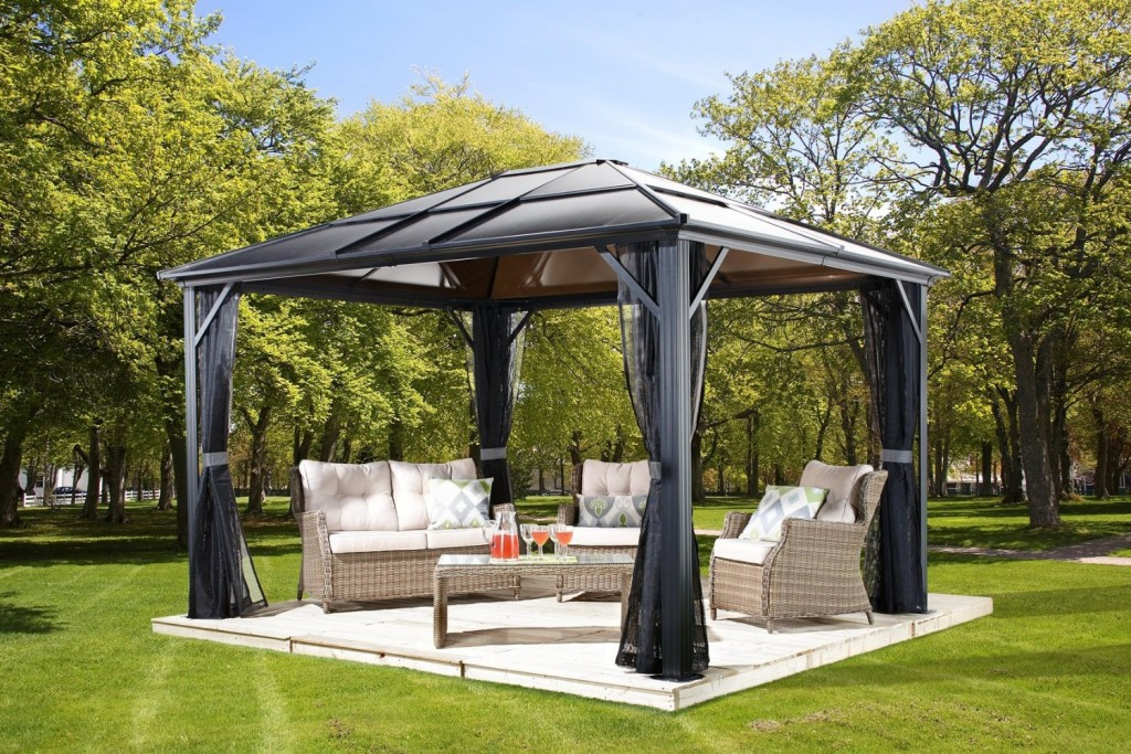 Image of: Aluminum Roof Gazebo Plans