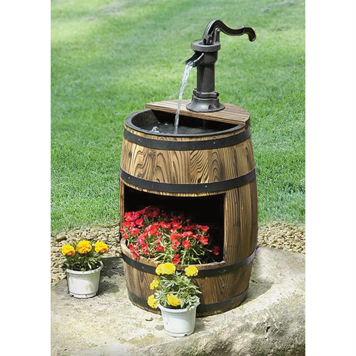 Image of: Barrel Fountain Decor