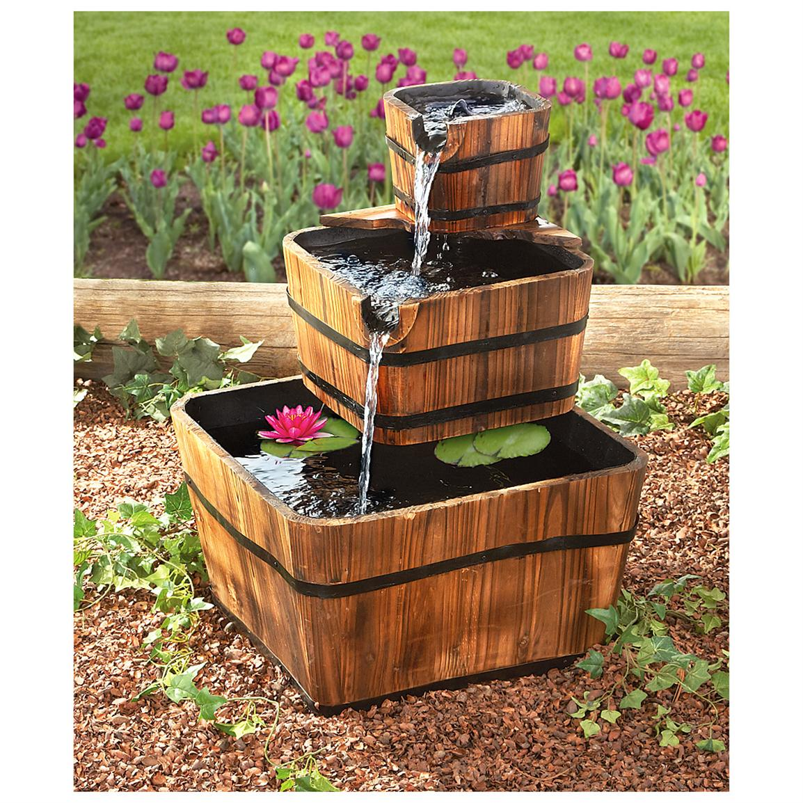 Image of: Barrel Fountain Outdoor