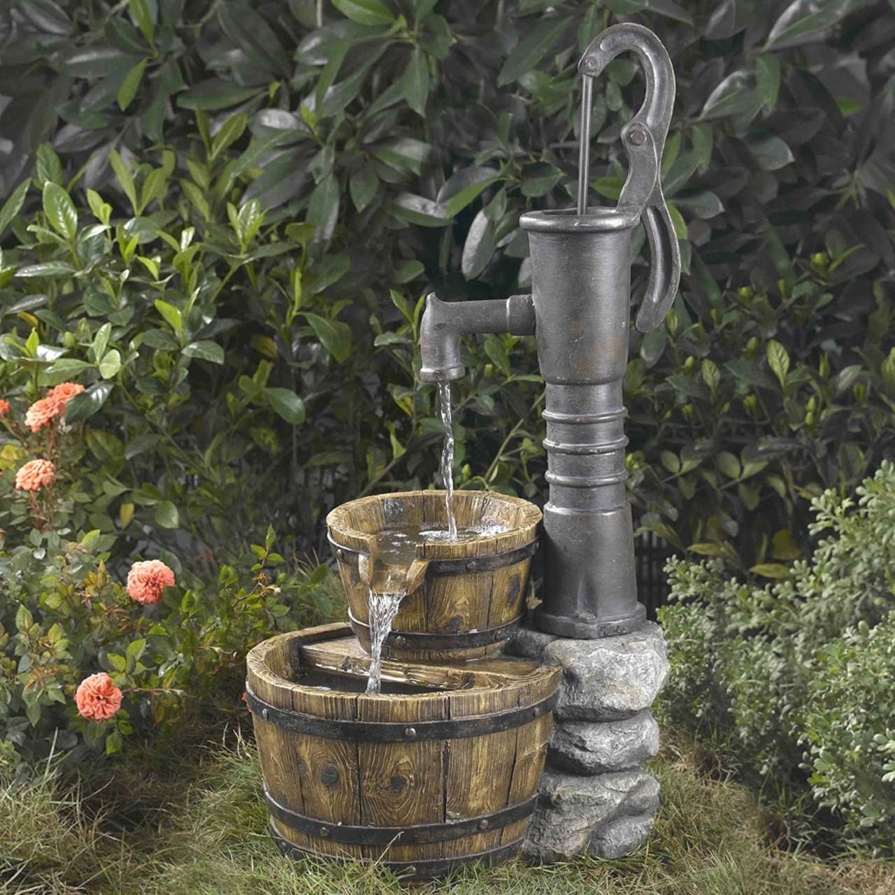 Image of: Barrel Fountain Water Pump